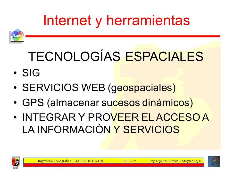 Ingeniería Topográfica BASES DE DATOS Ing. C@arlos Alfredo Rodríguez RojasFEB.2009 Internet y herramientas TECNOLOGÍAS ESPACIALES SIG SERVICIOS WEB (g