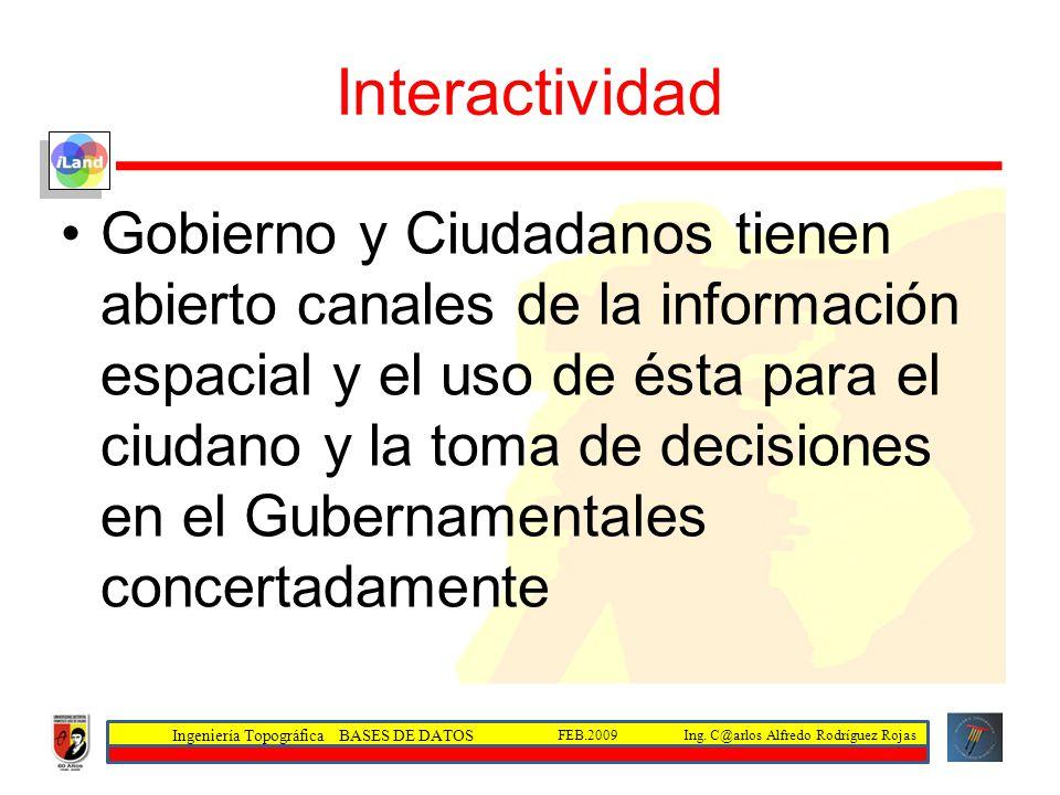 Ingeniería Topográfica BASES DE DATOS Ing. C@arlos Alfredo Rodríguez RojasFEB.2009 Interactividad Gobierno y Ciudadanos tienen abierto canales de la i