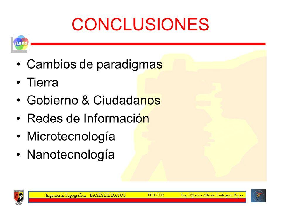 Ingeniería Topográfica BASES DE DATOS Ing. C@arlos Alfredo Rodríguez RojasFEB.2009 CONCLUSIONES Cambios de paradigmas Tierra Gobierno & Ciudadanos Red