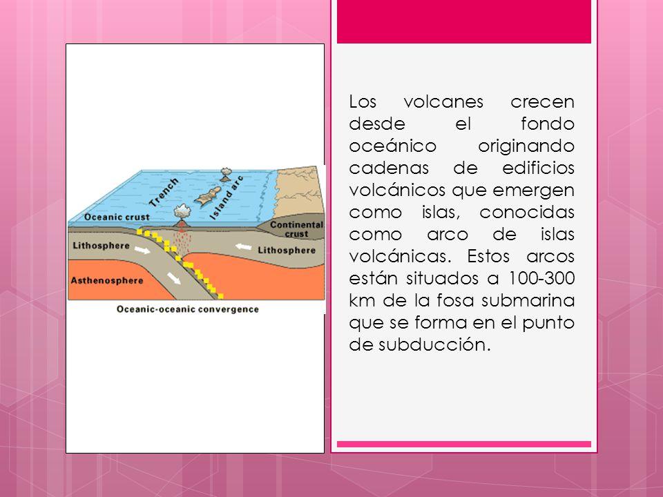 Los volcanes crecen desde el fondo oceánico originando cadenas de edificios volcánicos que emergen como islas, conocidas como arco de islas volcánicas