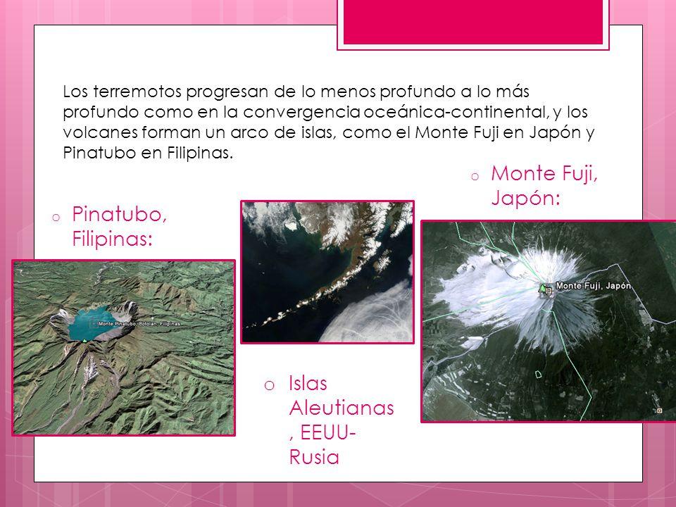 o Pinatubo, Filipinas: o Monte Fuji, Japón: Los terremotos progresan de lo menos profundo a lo más profundo como en la convergencia oceánica-continent
