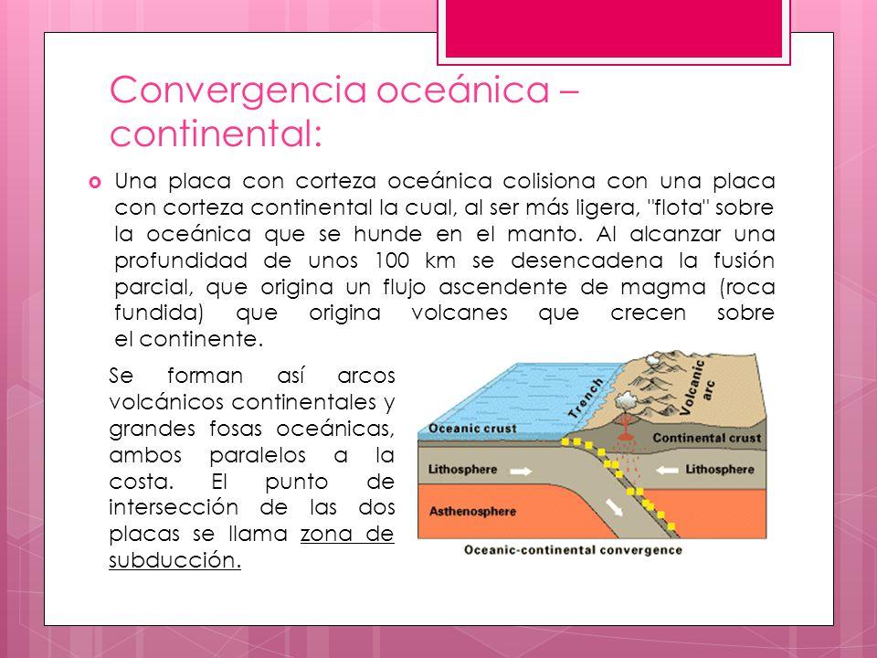 Convergencia oceánica – continental: Una placa con corteza oceánica colisiona con una placa con corteza continental la cual, al ser más ligera,