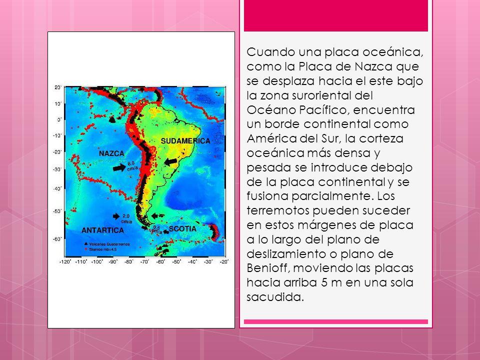 Cuando una placa oceánica, como la Placa de Nazca que se desplaza hacia el este bajo la zona suroriental del Océano Pacífico, encuentra un borde conti