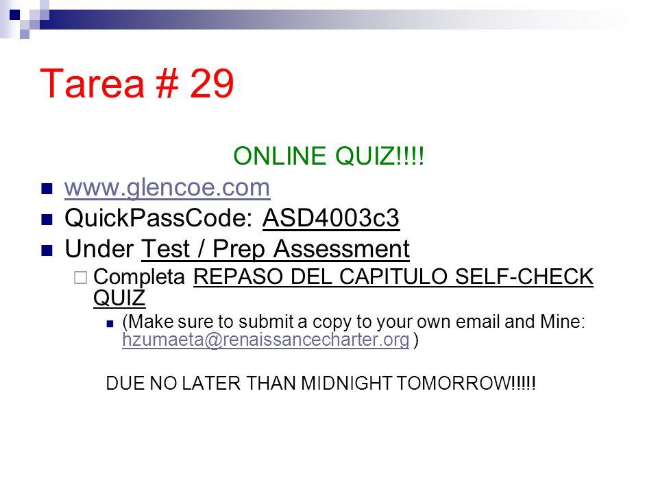 Tarea # 29 ONLINE QUIZ!!!.