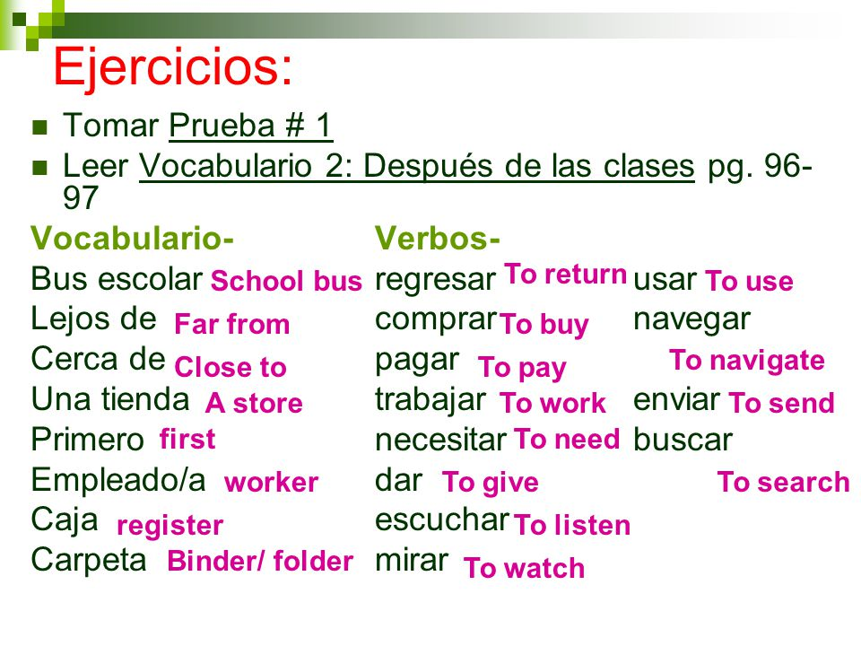 Tarea # 5 Cuaderno de Actividades: Completa pagina 3.6-3.7 Ejercicios A-E Vocabulario 2 Practice.