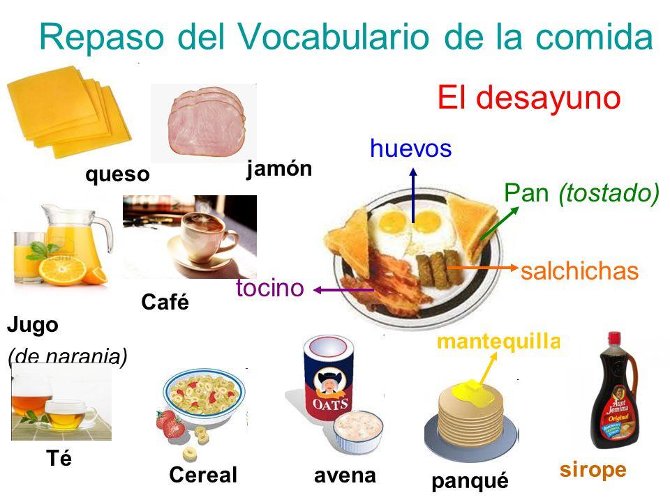 Repaso del Vocabulario de la comida El desayuno huevos Pan (tostado) salchichas tocino mantequilla panqué sirope avena Cereal Té Café Jugo (de naranja) queso jamón