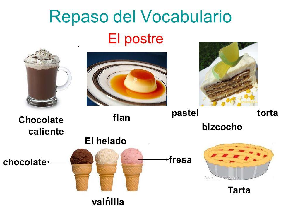 Repaso del Vocabulario El postre Chocolate caliente flan pastel bizcocho torta El helado chocolate vainilla fresa Tarta