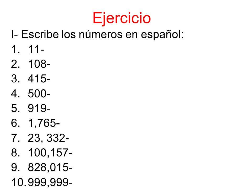 II- Escribe las fechas en español.