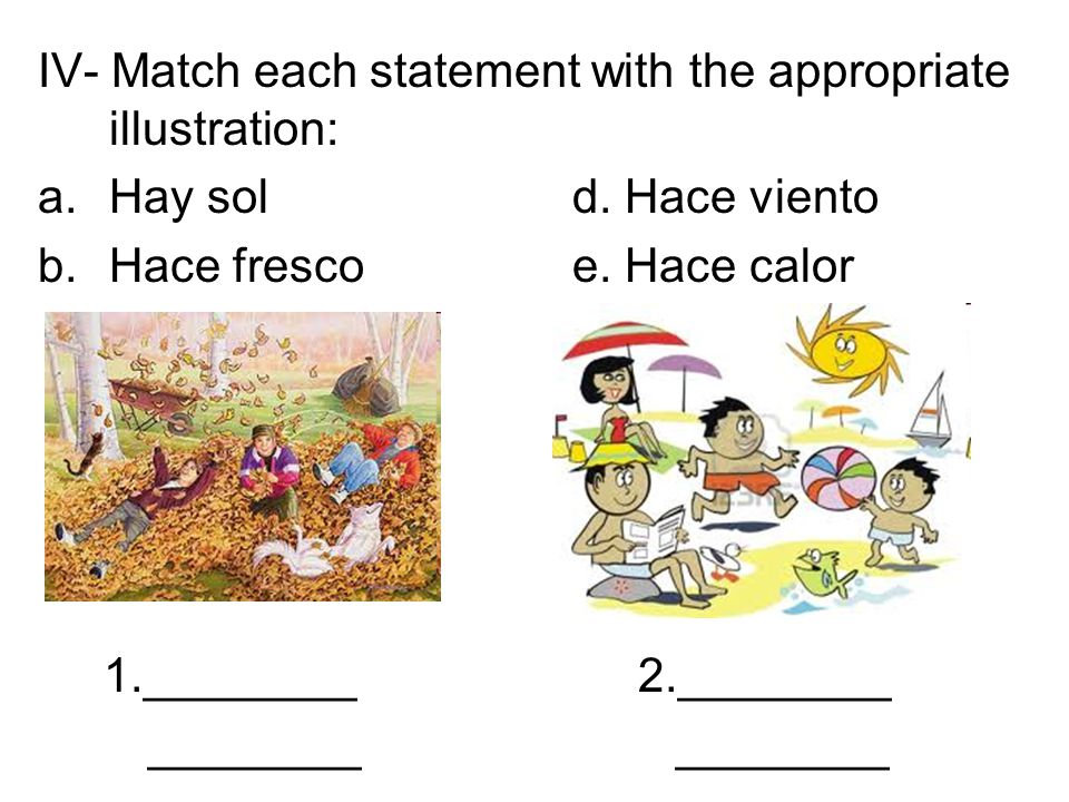 IV- Match each statement with the appropriate illustration: a.Hay sold. Hace viento b.Hace fresco e. Hace calor 1.________ 2.________ ________ _______