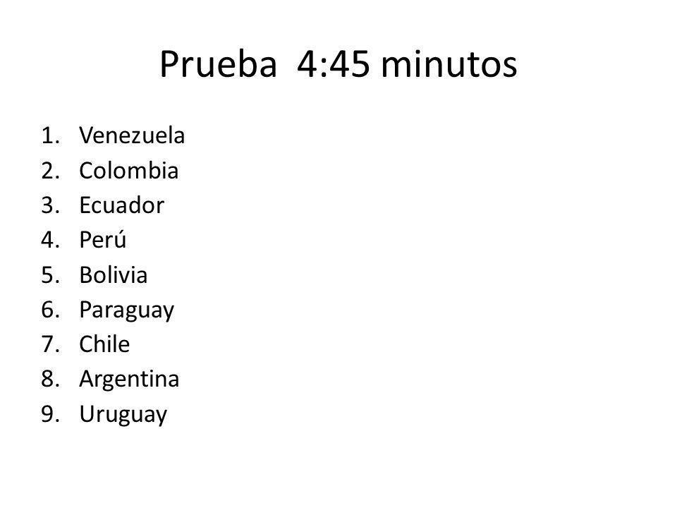 Prueba 4:45 minutos 1.Venezuela 2.Colombia 3.Ecuador 4.Perú 5.Bolivia 6.Paraguay 7.Chile 8.Argentina 9.Uruguay