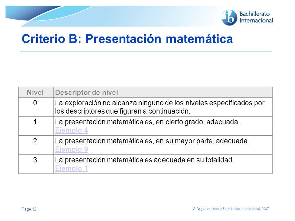 © Organización del Bachillerato Internacional, 2007 Criterio B: Presentación matemática NivelDescriptor de nivel 0La exploración no alcanza ninguno de