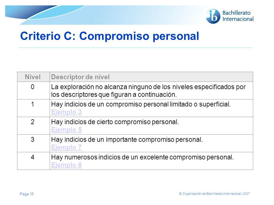 © Organización del Bachillerato Internacional, 2007 Criterio C: Compromiso personal NivelDescriptor de nivel 0La exploración no alcanza ninguno de los