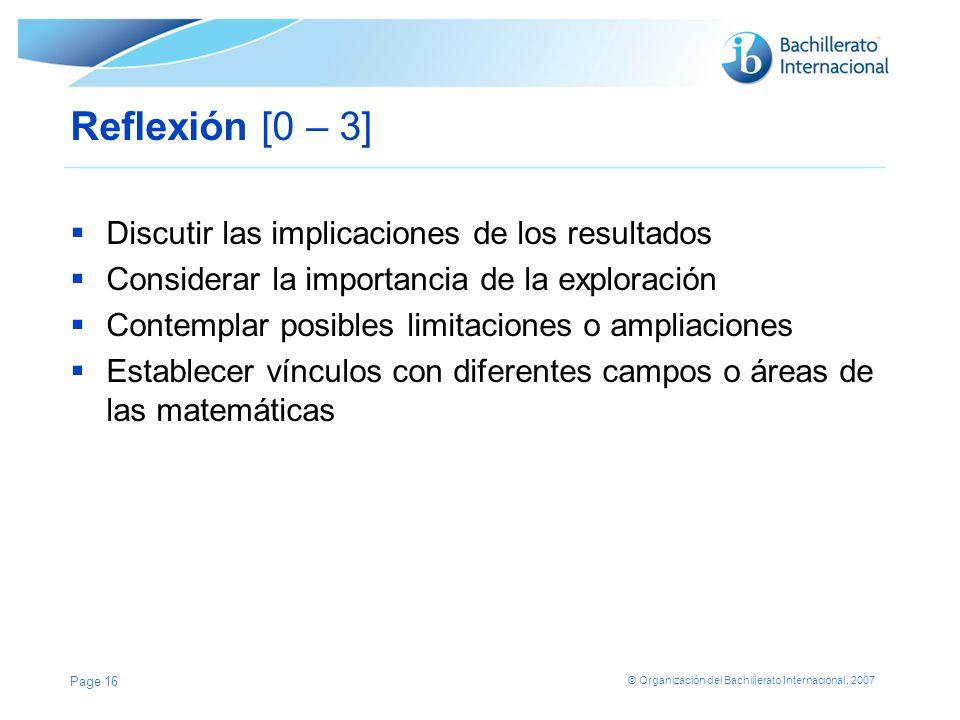 © Organización del Bachillerato Internacional, 2007 Reflexión [0 – 3] Discutir las implicaciones de los resultados Considerar la importancia de la exp