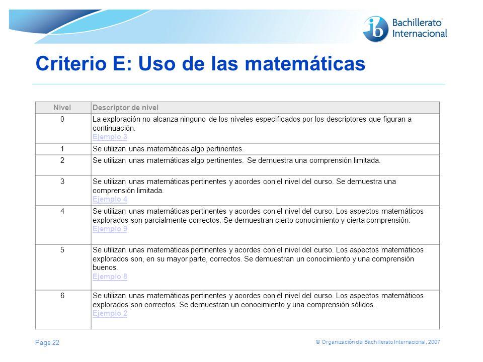 © Organización del Bachillerato Internacional, 2007 Criterio E: Uso de las matemáticas NivelDescriptor de nivel 0La exploración no alcanza ninguno de