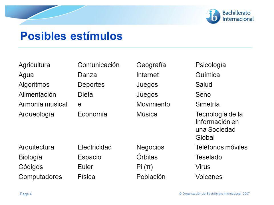 © Organización del Bachillerato Internacional, 2007 FORMATO DE LA EXPLORACIÓN 1.Introducción.