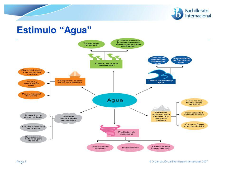 © Organización del Bachillerato Internacional, 2007 Estimulo Agua Page 5