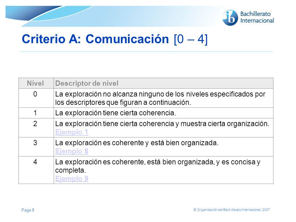 © Organización del Bachillerato Internacional, 2007 Criterio A: Comunicación [0 – 4] NivelDescriptor de nivel 0La exploración no alcanza ninguno de lo
