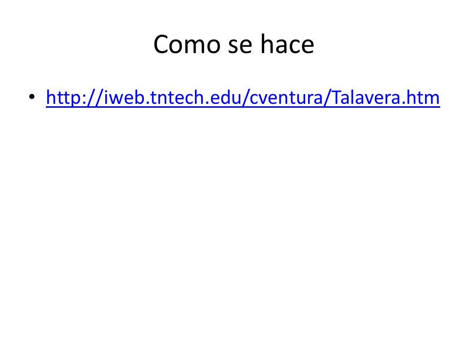 Como se hace http://iweb.tntech.edu/cventura/Talavera.htm