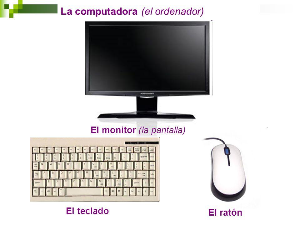 El monitor (la pantalla) El teclado El ratón La computadora (el ordenador)