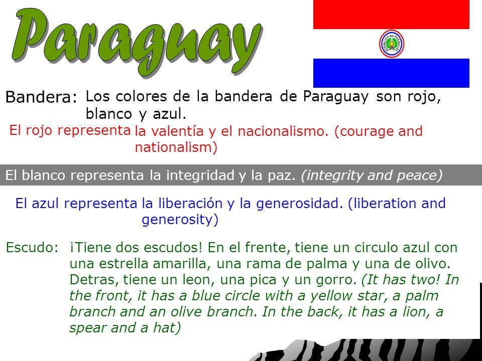 Capital: Nacionalidad: Bandera: Los colores de la bandera de Paraguay son rojo, blanco y azul.