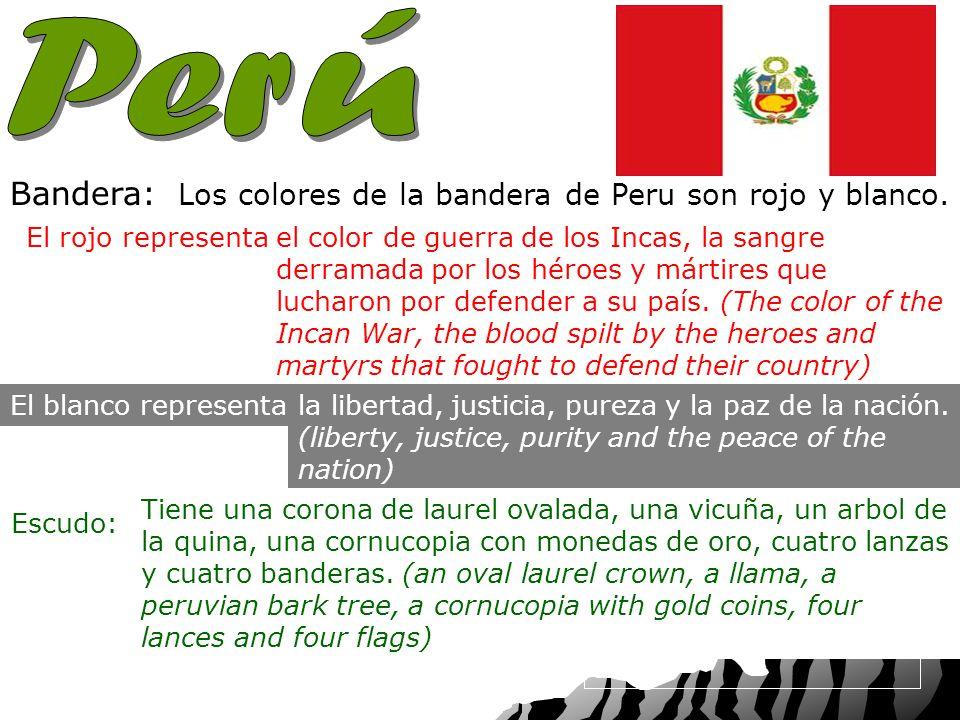 Capital: Nacionalidad: Bandera: Los colores de la bandera de Peru son rojo y blanco.