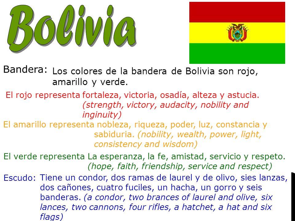 Capital: Nacionalidad: Bandera: Los colores de la bandera de Bolivia son rojo, amarillo y verde.