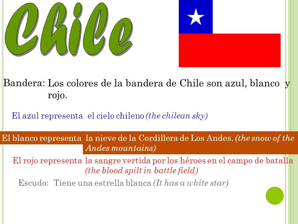 Capital: Nacionalidad: Bandera: Los colores de la bandera de Chile son azul, blanco y rojo.