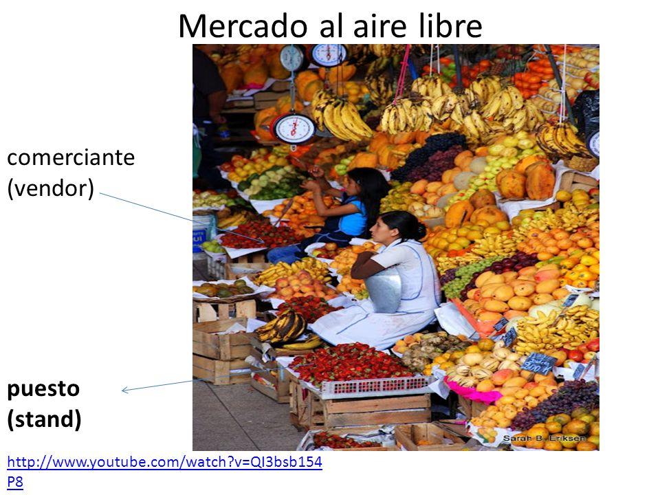 artesanías (crafts) negociar (bargain) sueter (sweater) gorros (hats) Mercado artesanal http://www.youtube.com/watch?v=bSv4VE6it 9g