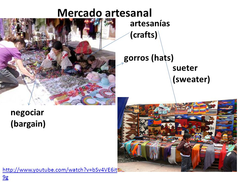 artesanías (crafts) negociar (bargain) sueter (sweater) gorros (hats) Mercado artesanal http://www.youtube.com/watch?v=bSv4VE6it 9g