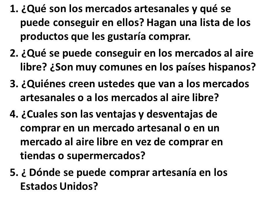 Tarea You received an e-mail from a key pal in Ecuador in which he describes a mercado.