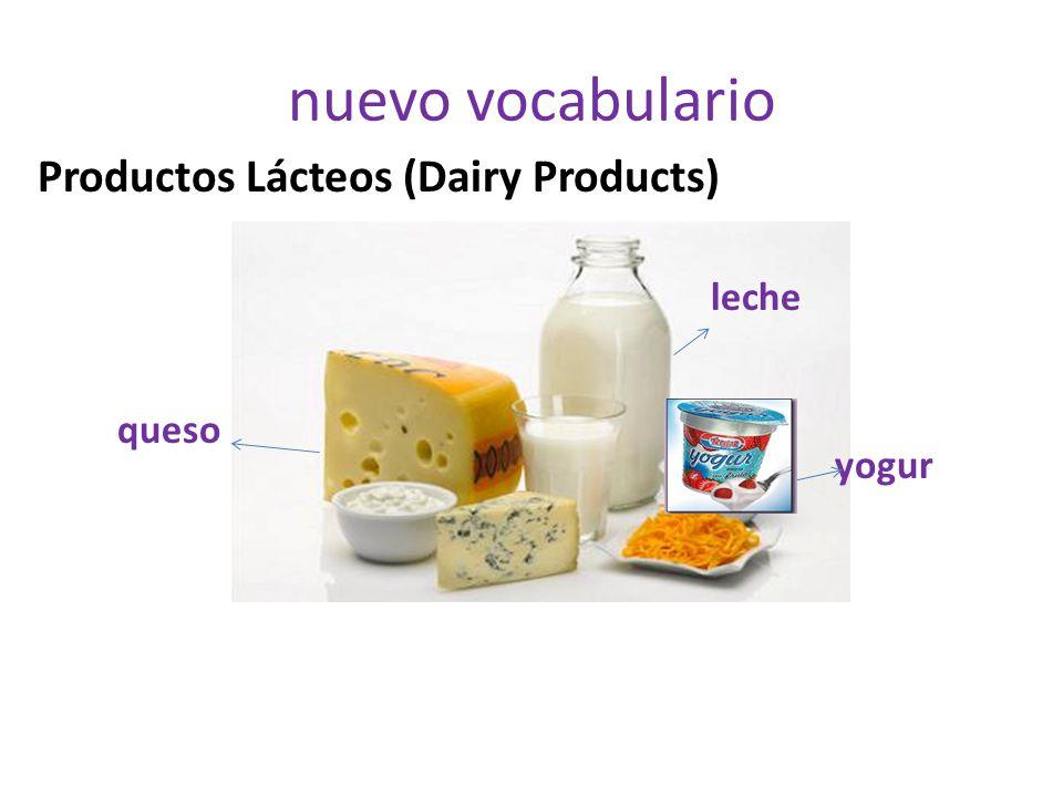nuevo vocabulario Productos Lácteos (Dairy Products) leche queso yogur