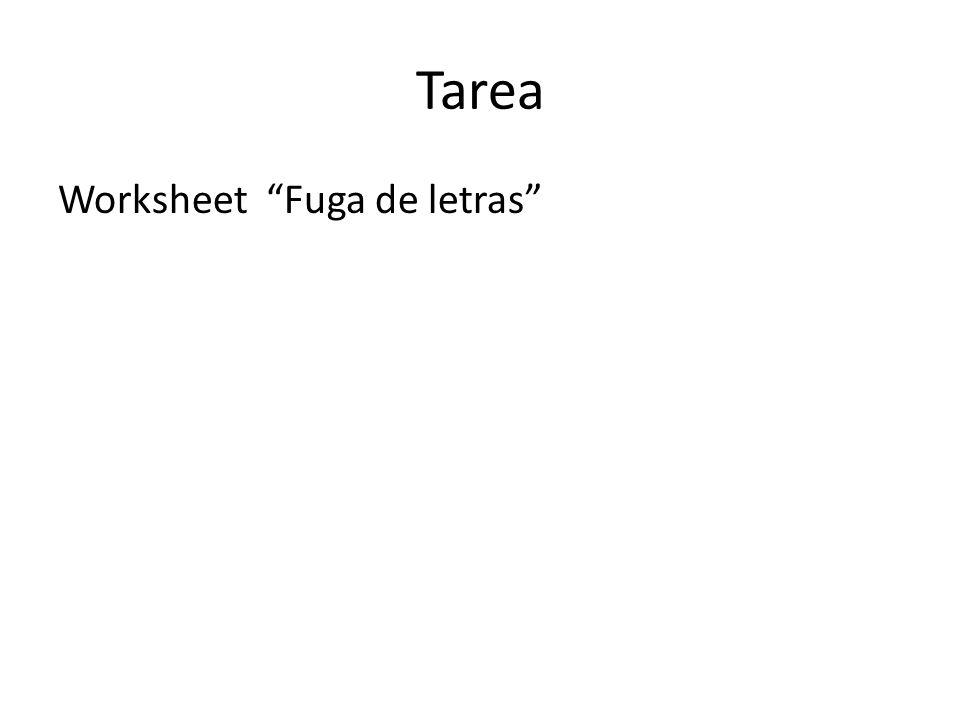 Tarea Worksheet Fuga de letras