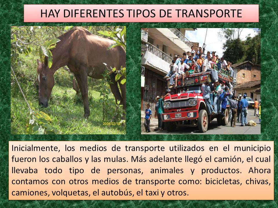 HAY DIFERENTES TIPOS DE TRANSPORTE Inicialmente, los medios de transporte utilizados en el municipio fueron los caballos y las mulas. Más adelante lle