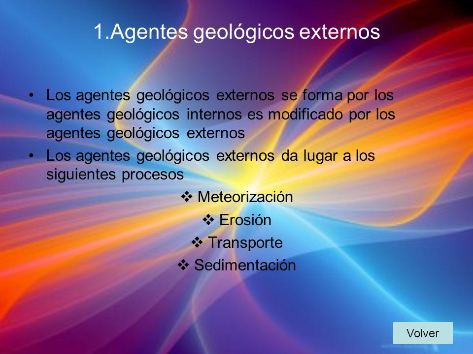 1.Agentes geológicos externos Los agentes geológicos externos se forma por los agentes geológicos internos es modificado por los agentes geológicos externos Los agentes geológicos externos da lugar a los siguientes procesos Meteorización Erosión Transporte Sedimentación Volver