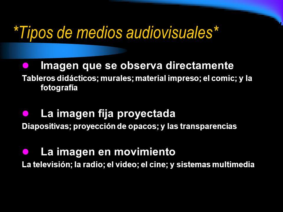 *Tipos de medios audiovisuales* Imagen que se observa directamente Tableros didácticos; murales; material impreso; el comic; y la fotografía La imagen
