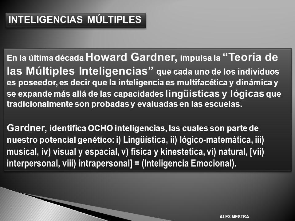 En la última década Howard Gardner, impulsa la Teoría de las Múltiples Inteligencias que cada uno de los individuos es poseedor, es decir que la inteligencia es multifacética y dinámica y se expande más allá de las capacidades lingüísticas y lógicas que tradicionalmente son probadas y evaluadas en las escuelas.