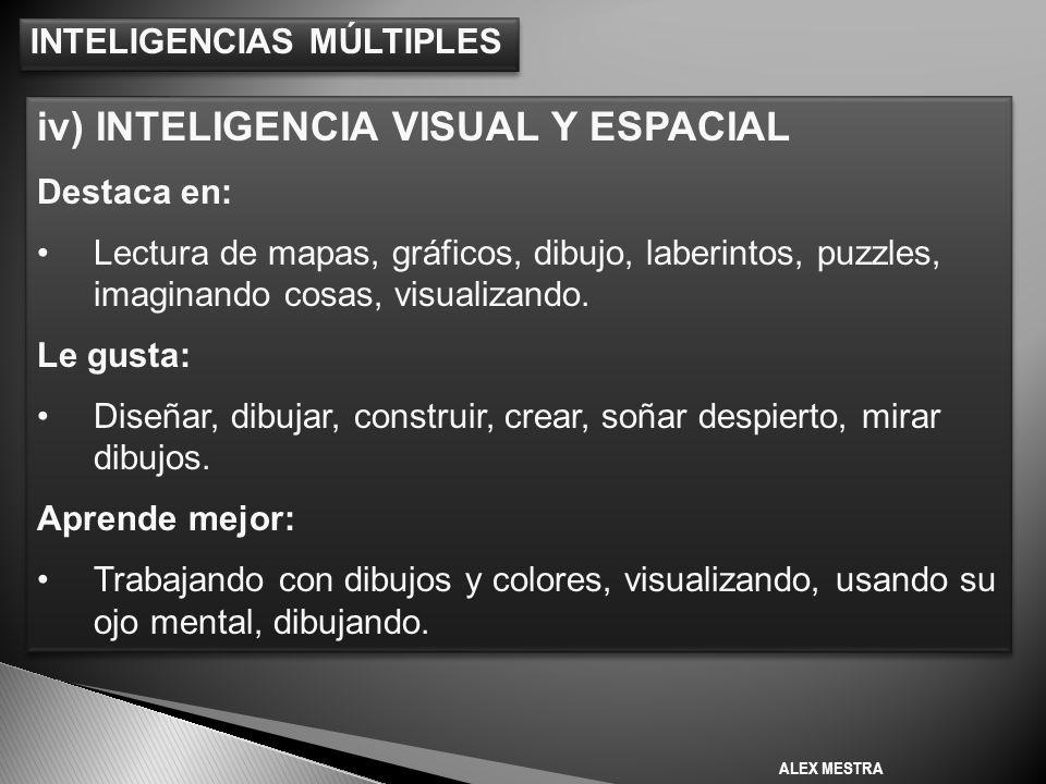 INTELIGENCIAS MÚLTIPLES iv) INTELIGENCIA VISUAL Y ESPACIAL Destaca en: Lectura de mapas, gráficos, dibujo, laberintos, puzzles, imaginando cosas, visualizando.