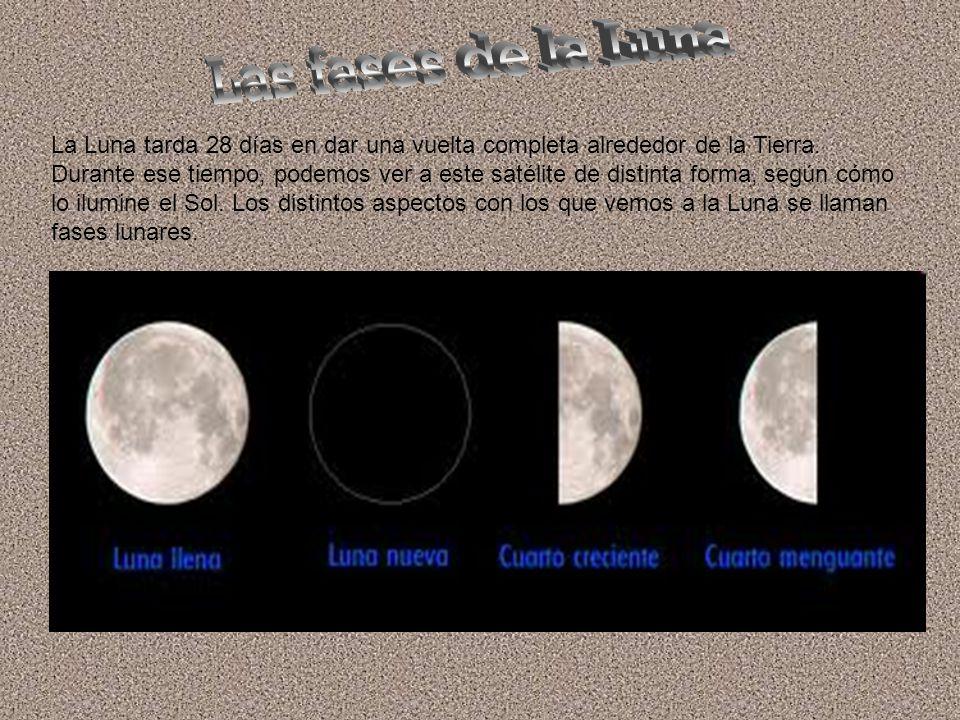 La Luna tarda 28 días en dar una vuelta completa alrededor de la Tierra.