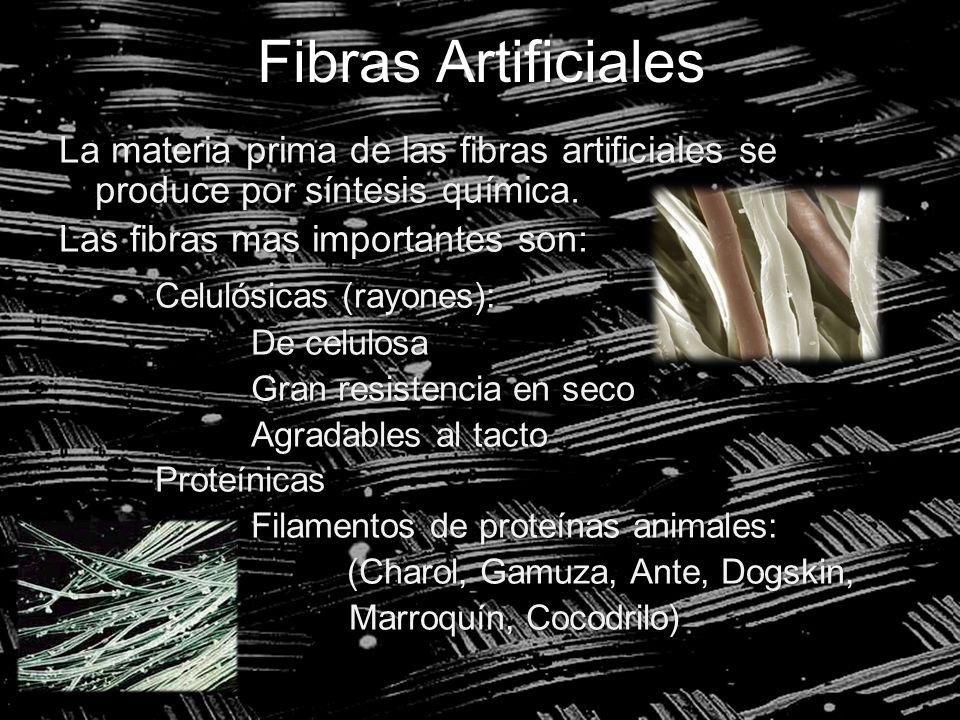 Fibras Artificiales La materia prima de las fibras artificiales se produce por síntesis química. Las fibras mas importantes son: Celulósicas (rayones)