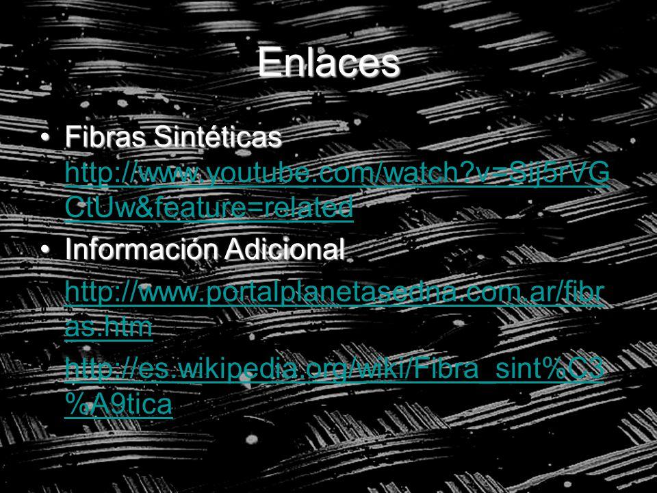 Enlaces Fibras SintéticasFibras Sintéticas http://www.youtube.com/watch?v=Sij5rVG CtUw&feature=related http://www.youtube.com/watch?v=Sij5rVG CtUw&fea