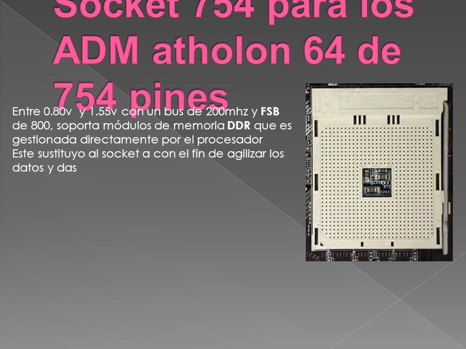 Entre 0.80v y 1.55v con un bus de 200mhz y FSB de 800, soporta módulos de memoria DDR que es gestionada directamente por el procesador Este sustituyo