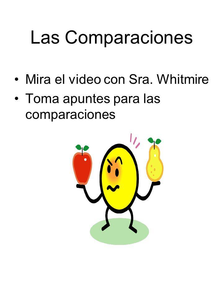 Las Comparaciones Mira el video con Sra. Whitmire Toma apuntes para las comparaciones