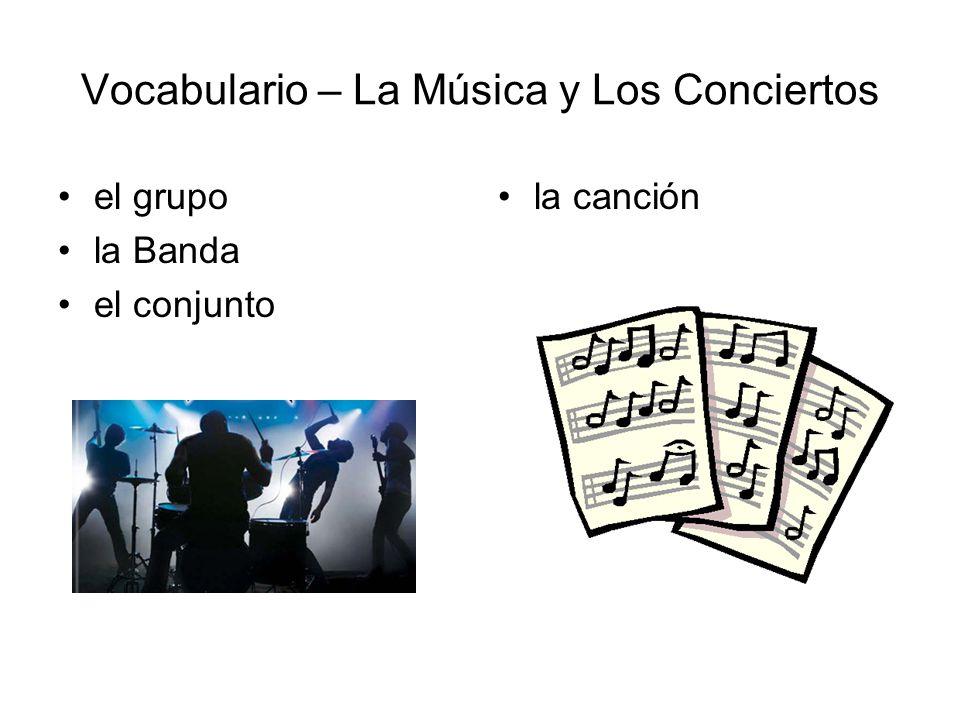 Vocabulario – La Música y Los Conciertos Empieza a las… Termina a las… Llegar Asistir La entrada El boleto ¿Cuánto cuesta.