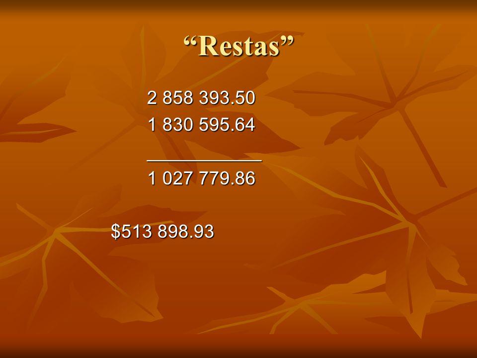 Resultados Ahorrado---1/6 parte 426 398.91 Invirtió-----1/3 parte 952 797.83 Volados----1/12 parte 238 199.45 Pobres------1/6 parte 213 199.45 RESULTADO $ 1 830 595.64 RESULTADO $ 1 830 595.64