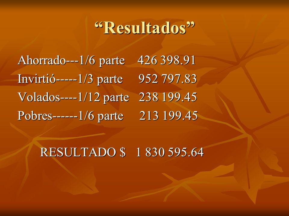 TABLA DE RESULTADOS EN QUE SE USO.CANTIDADES GASTADAS.
