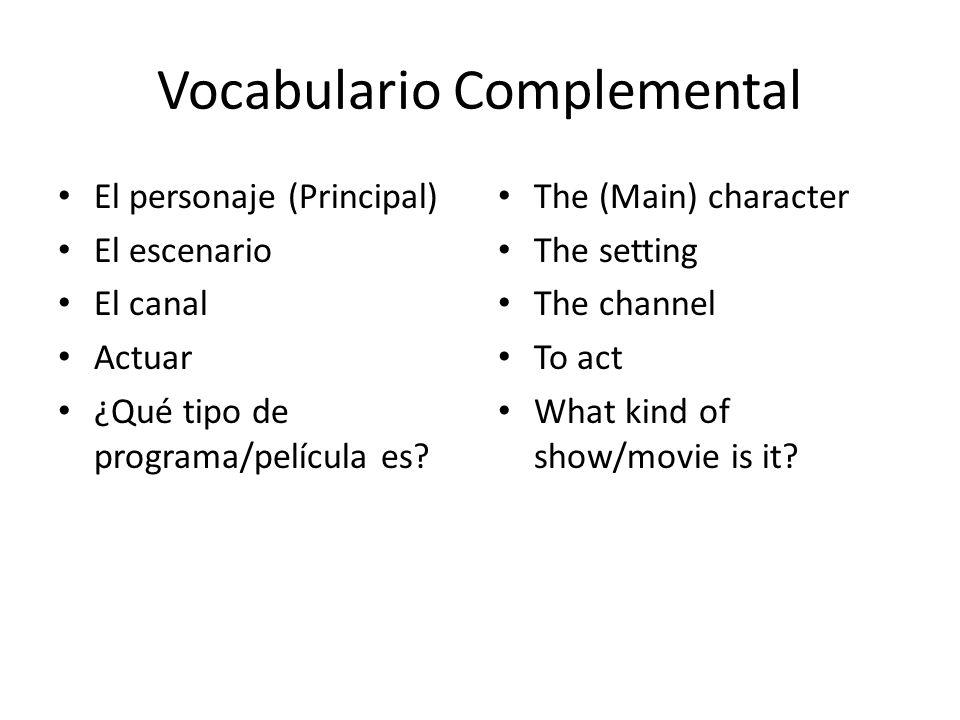 Vocabulario Complemental El personaje (Principal) El escenario El canal Actuar ¿Qué tipo de programa/película es? The (Main) character The setting The