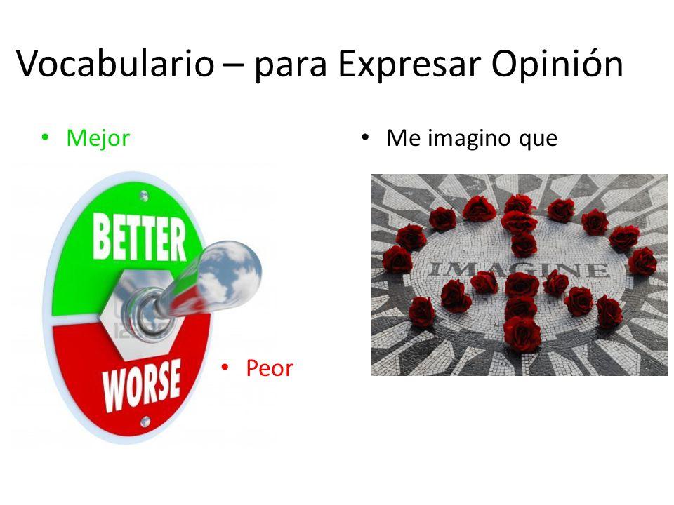 Vocabulario – para Expresar Opinión Mejor Peor Me imagino que