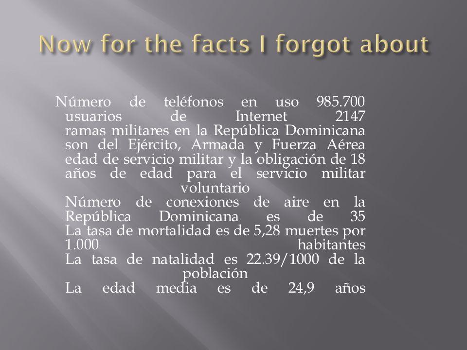 Número de teléfonos en uso 985.700 usuarios de Internet 2147 ramas militares en la República Dominicana son del Ejército, Armada y Fuerza Aérea edad de servicio militar y la obligación de 18 años de edad para el servicio militar voluntario Número de conexiones de aire en la República Dominicana es de 35 La tasa de mortalidad es de 5,28 muertes por 1.000 habitantes La tasa de natalidad es 22.39/1000 de la población La edad media es de 24,9 años