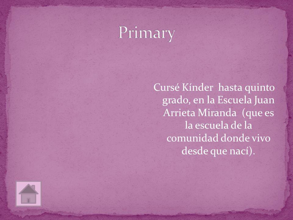 Cursé Kínder hasta quinto grado, en la Escuela Juan Arrieta Miranda (que es la escuela de la comunidad donde vivo desde que nací).