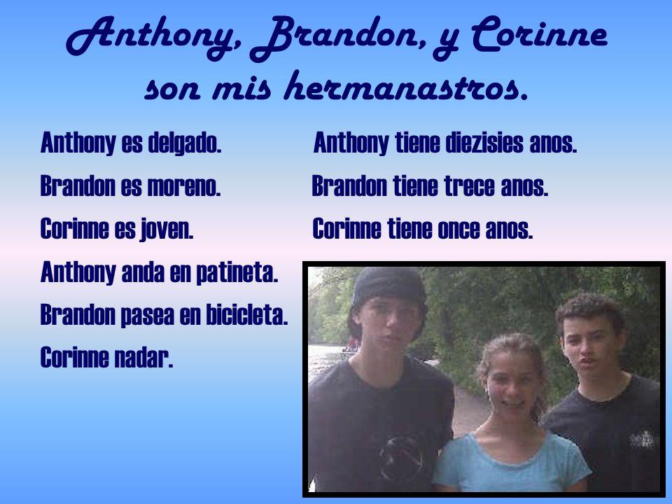 Anthony, Brandon, y Corinne son mis hermanastros. Anthony es delgado. Anthony tiene diezisies anos. Brandon es moreno. Brandon tiene trece anos. Corin